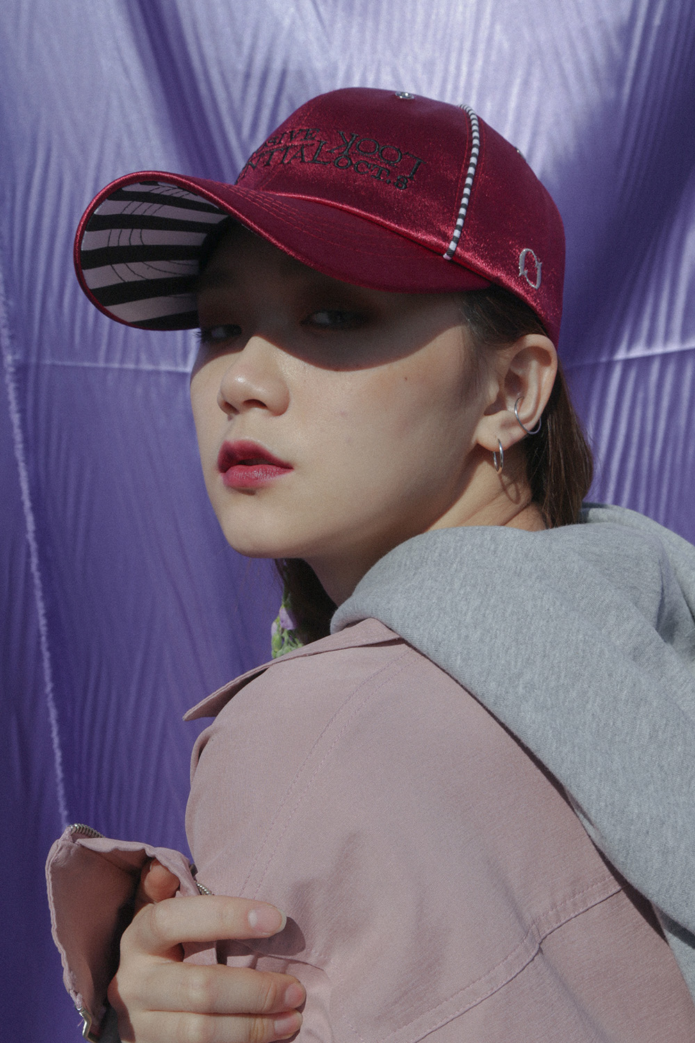 Stripe Shiny Cap_Burgundy