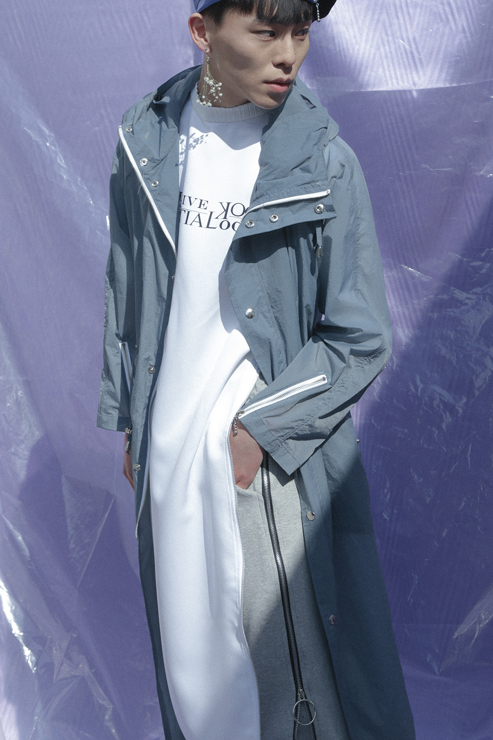 OCT.3 Long Hood Rain Coat_Blue