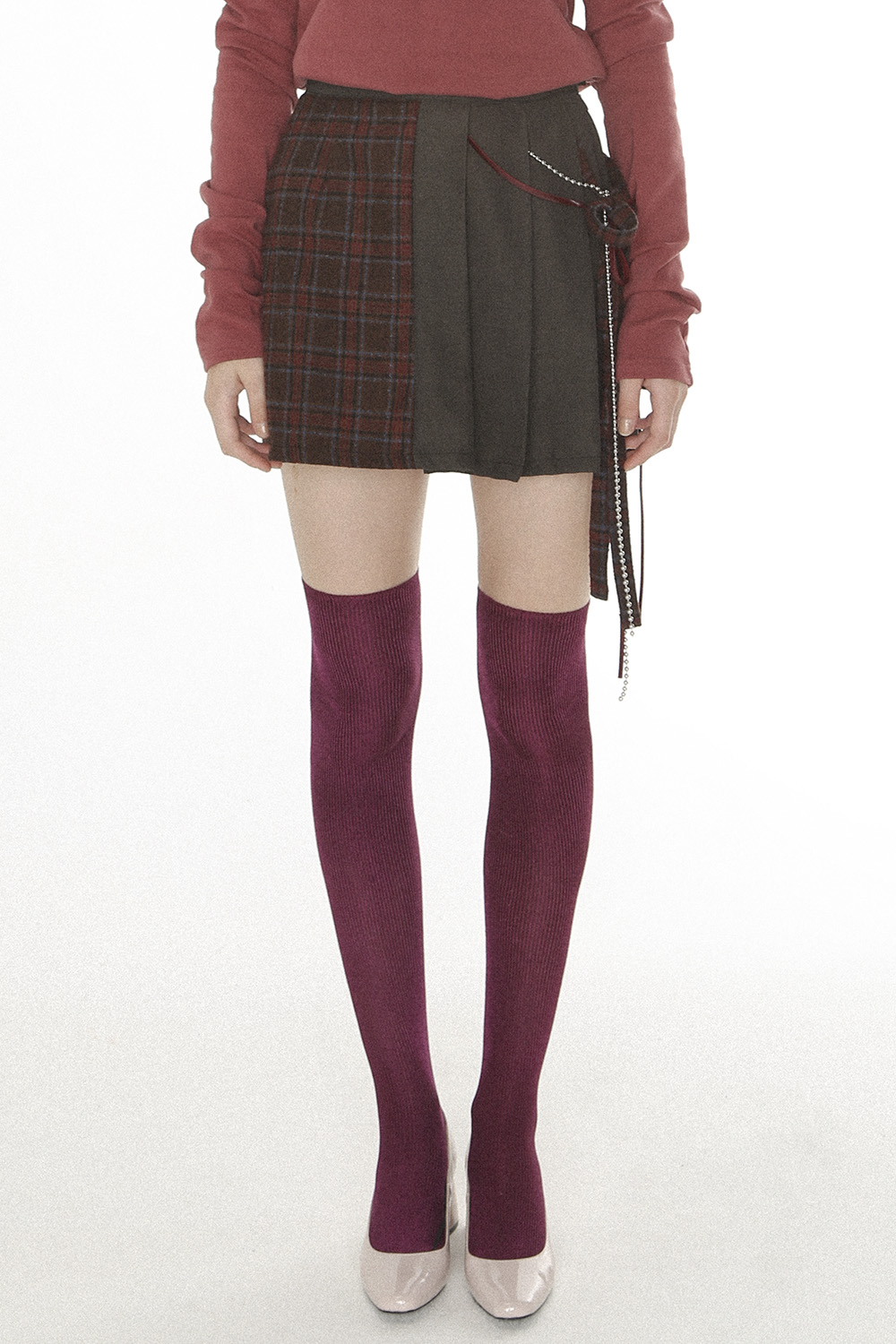 Check & Pleats Layered Skirt [Brown]
