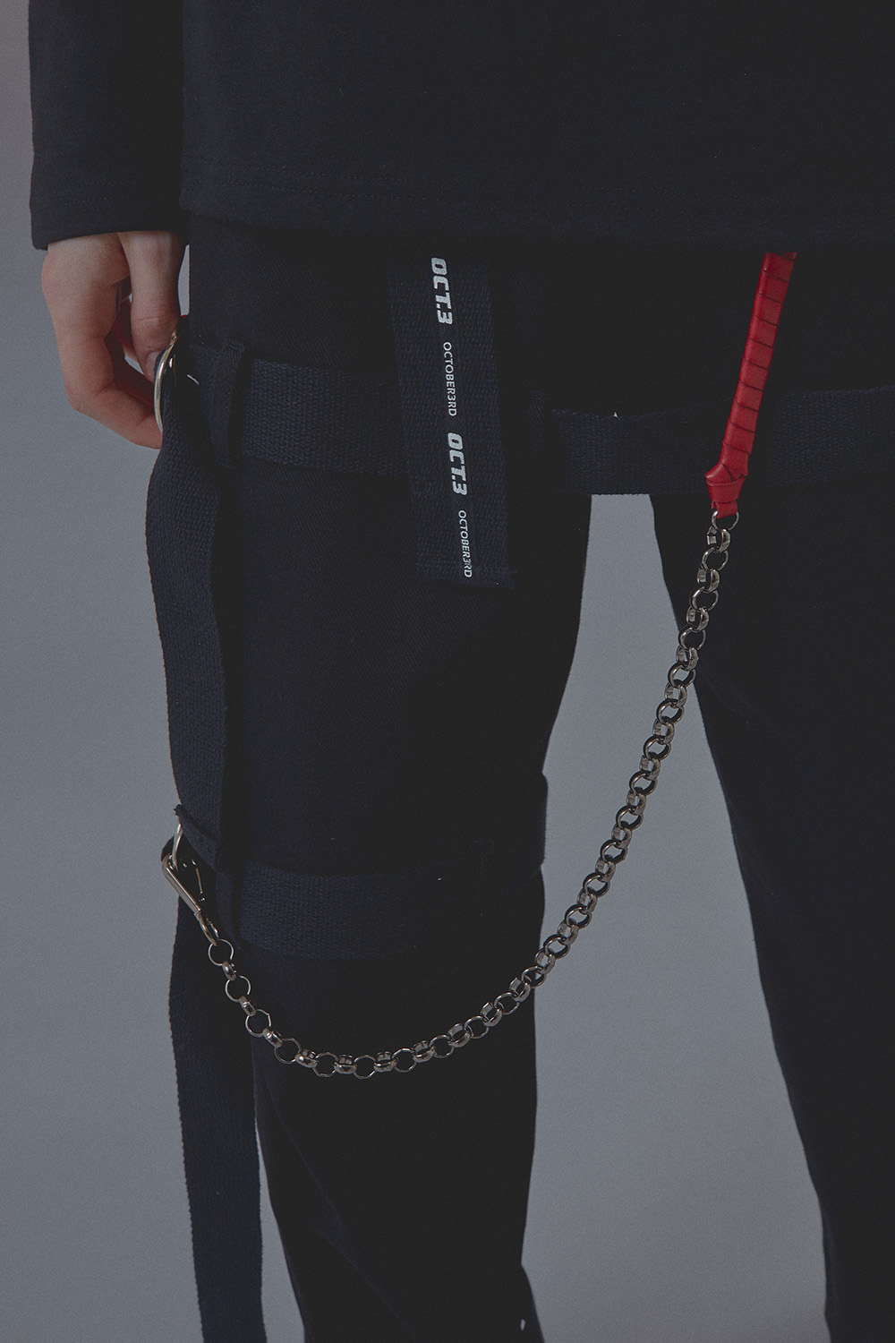 Red Leather Mix Wallet chain