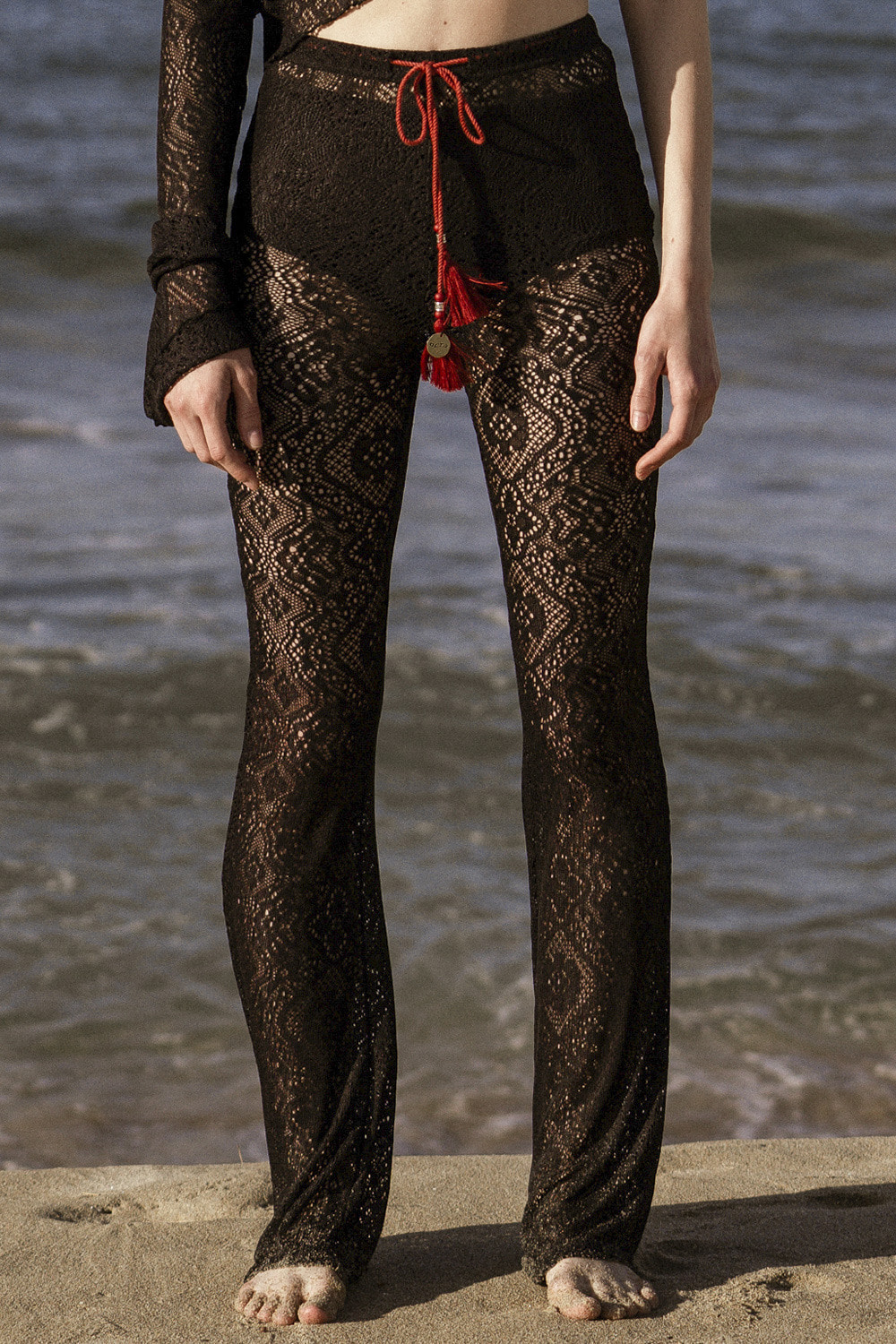 Tassel Lace Banding Pants [Black]