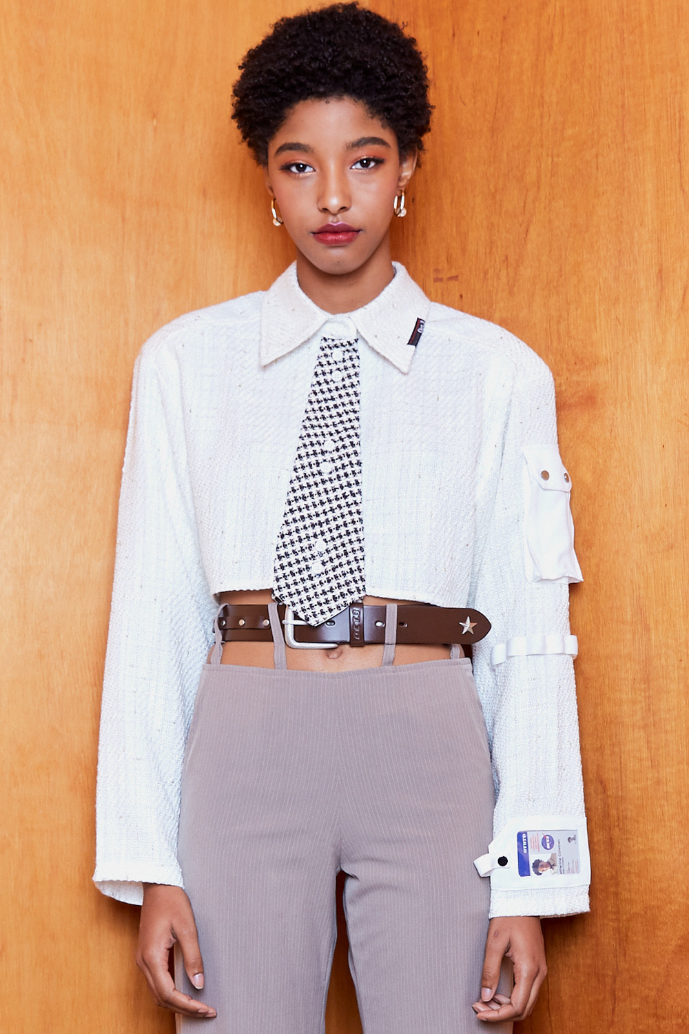 Necktie Pocket Crop Shirt [White]