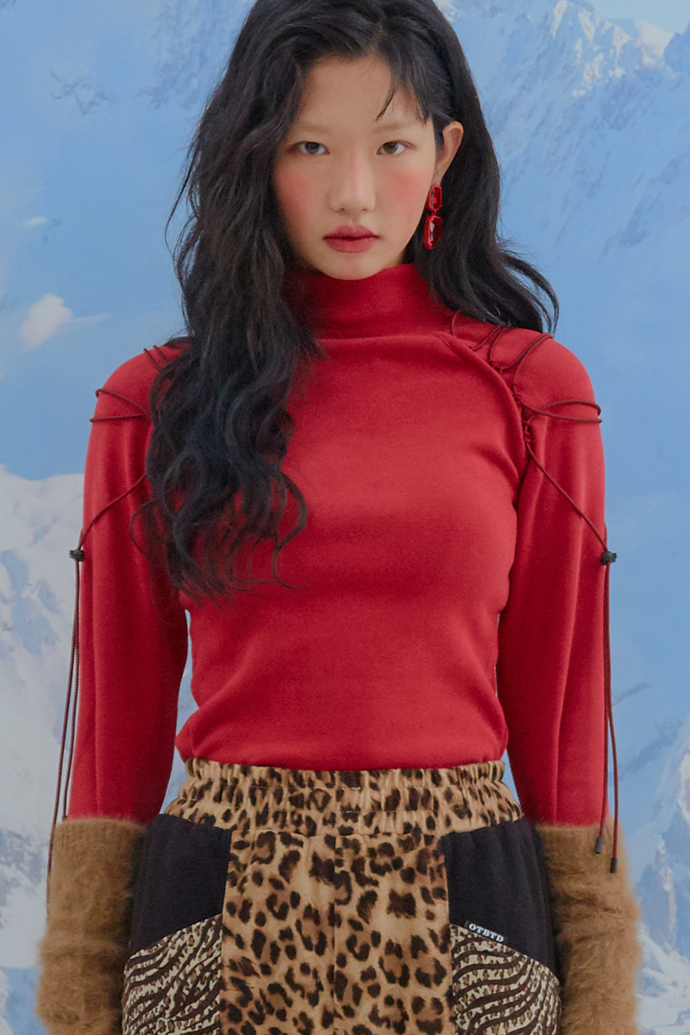 Raglan String Turtle Neck T [Red]