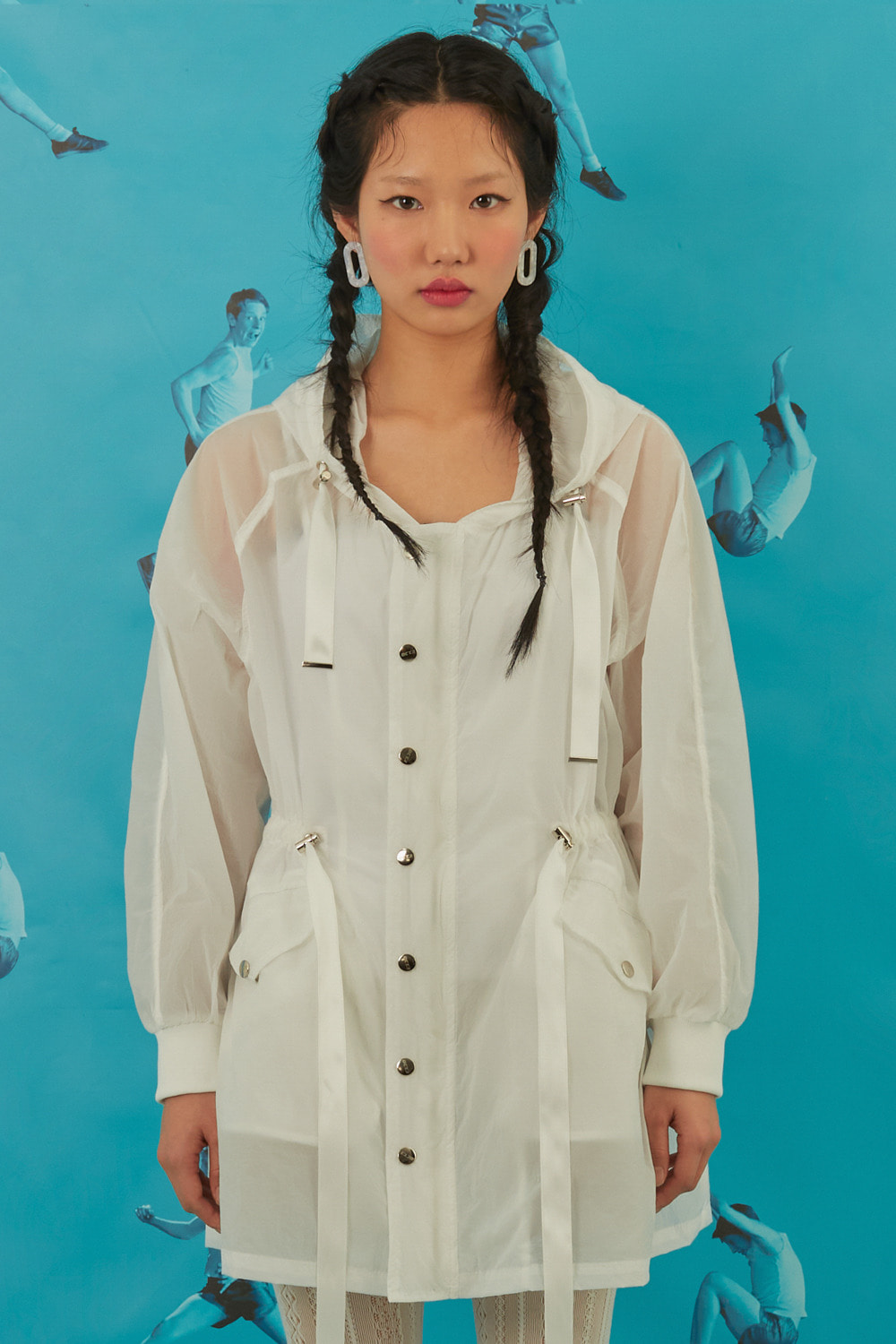 Ribbon Windbreaker Dress [White]